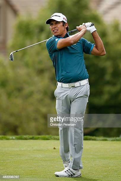Andres Romero of Argentina hits a tee shot on the 10th hole during the second round of the Barracuda Championship at the Montreux Golf and Country...
