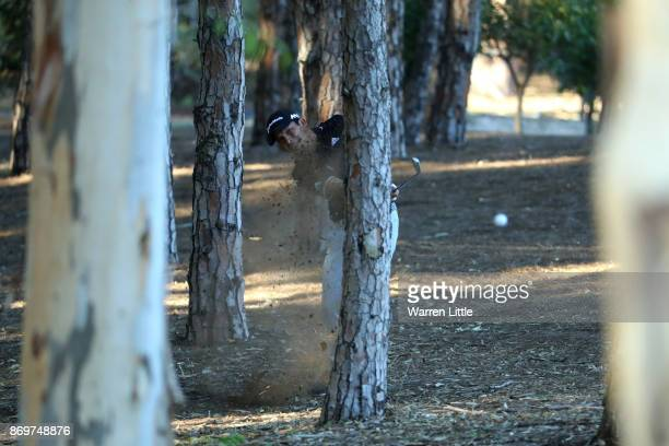 Andres Romero of Argentina hits his second shot on the 15th hole during the second round of the Turkish Airlines Open at the Regnum Carya Golf Spa...