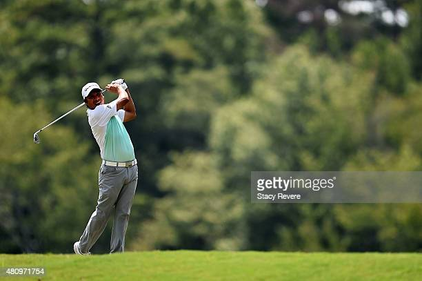 Andres Romero of Argentina hits his tee shot on the ninth hole during the first round of the Barbasol Championship at the Robert Trent Jones Golf...