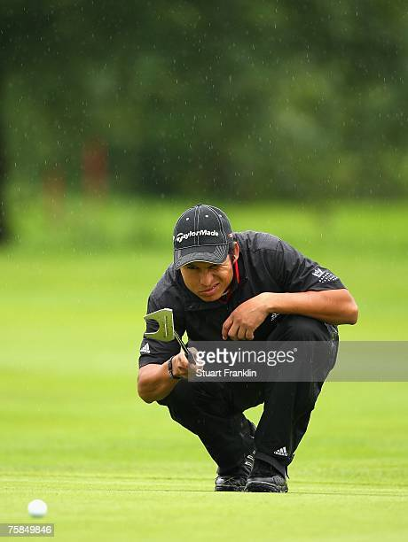 Andres Romero of Argentina lines up his putt on the 10th hole during the final round of The Deutsche Bank Players Championship of Europe at Gut Kaden...
