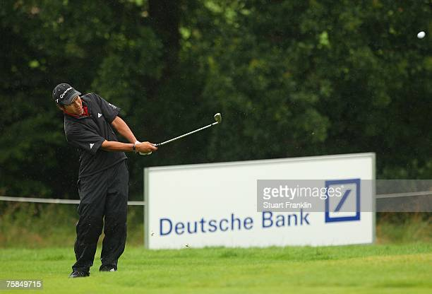 Andres Romero of Argentina plays his approach shot on the 15th hole during the final round of The Deutsche Bank Players Championship of Europe at Gut...