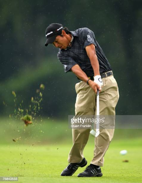 Andres Romero of Argentina plays his approach shot on the 17th hole during the third round of The Deutsche Bank Players Championship of Europe at Gut...