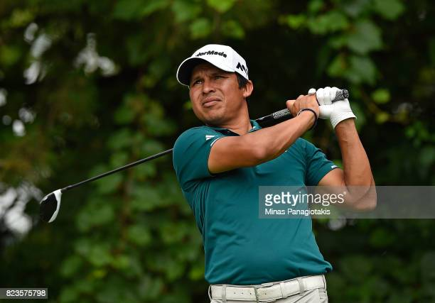 Andres Romero of Argentina plays his shot from the 16th tee during round one of the RBC Canadian Open at Glen Abbey Golf Club on July 27 2017 in...
