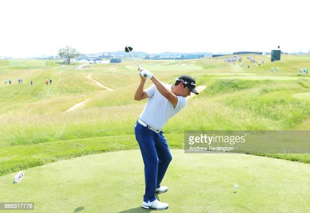 Andres Romero of Argentina plays his shot from the 18th tee during a practice round prior to the 2017 US Open at Erin Hills on June 12 2017 in...