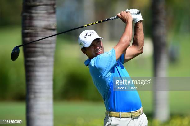 Andres Romero of Argentina plays his shot from the second tee during the third round of the Puerto Rico Open at Coco Beach Golf and Country Club on...