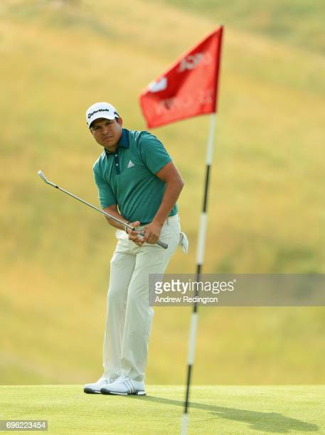 Andres Romero of Argentina plays his shot on the third hole during the first round of the 2017 US Open at Erin Hills on June 15 2017 in Hartford...