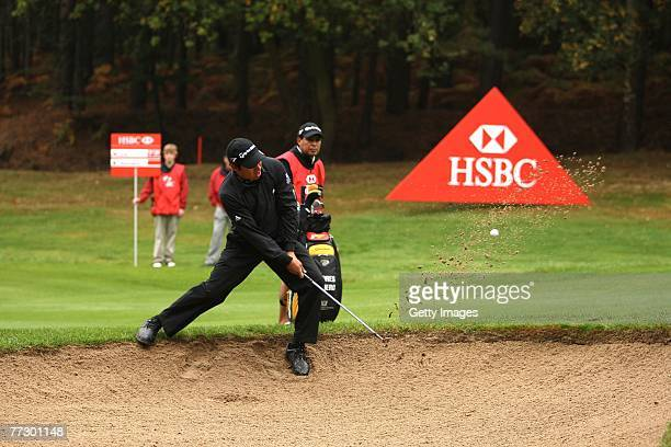 Andres Romero of Argentina plays out of a bunker on the 13th during the Second Round of the HSBC World Matchplay Championship at The Wentworth Club...