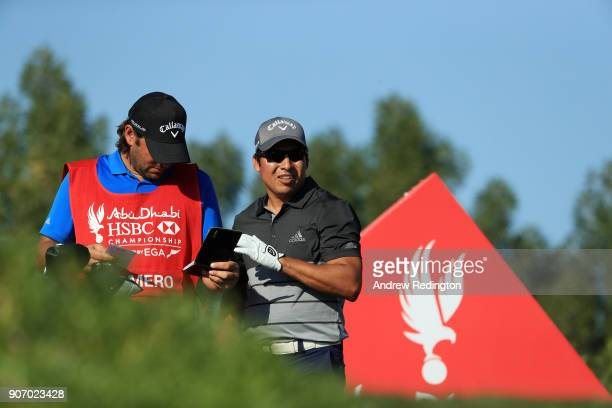 Andres Romero of Argentina prepares to play his shot from the third tee during round two of the Abu Dhabi HSBC Golf Championship at Abu Dhabi Golf...
