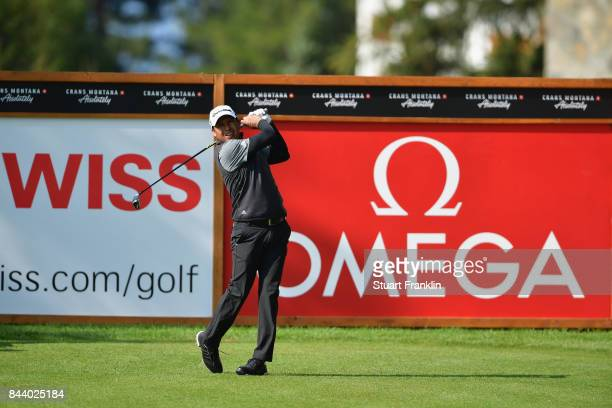 Andres Romero of Argentina tees off on the 2nd during Day Two of the 2017 Omega European Masters at CranssurSierre Golf Club on September 8 2017 in...