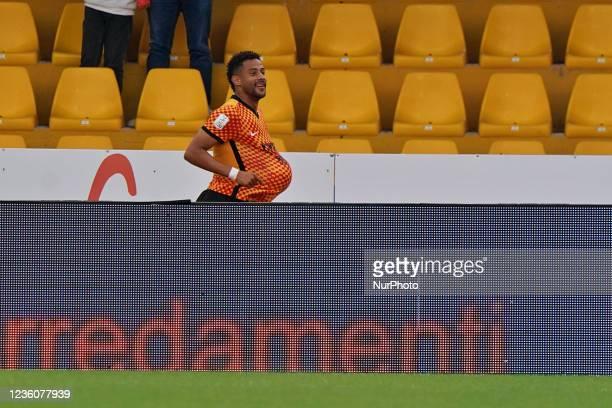 Andres Tello celebrates after scoring a goal of 3-0 during the Italian Football Championship League BKT Benevento Calcio vs Cosenza Calcio on October...