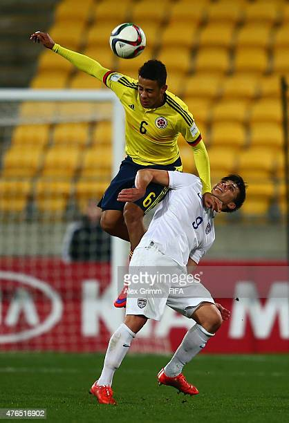 Andres Tello of Colombia outjumps Rubio Rubin of USA during the FIFA U20 World Cup New Zealand 2015 Round of 16 match between USA and Colombia at...