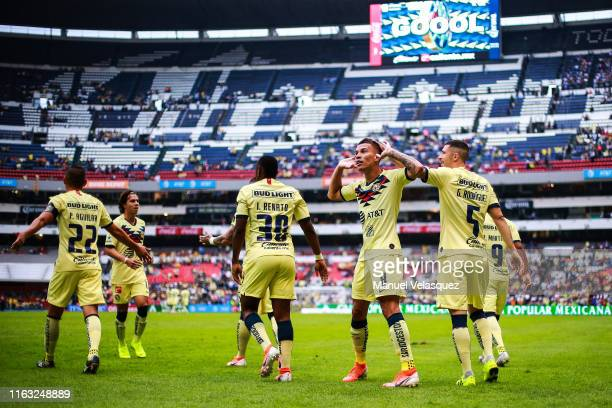 Andres Uribe of America celebrates a scored goal during the 1st round match between America and Monterrey as part of the Torneo Apertura 2019 Liga MX...