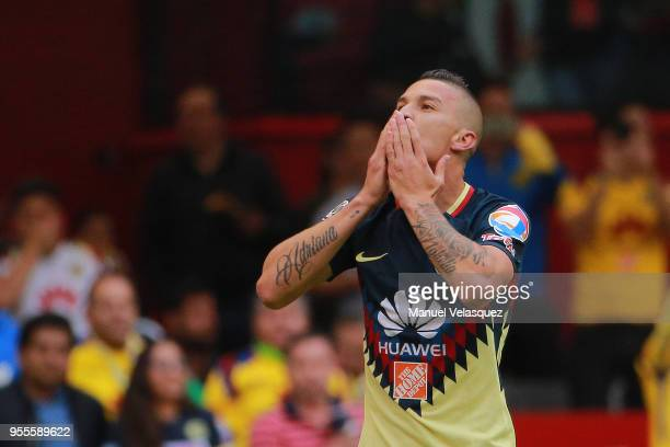 Andres Uribe of America celebrates after scoring the first goal of his team during the quarter finals second leg match between America and Pumas UNAM...