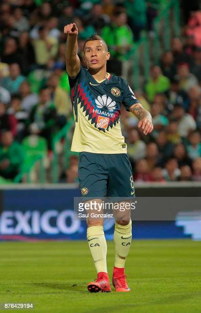 Andres Uribe of America gestures during the 17th round match between Santos Laguna and America as part of the Torneo Apertura 2017 Liga at Corona...