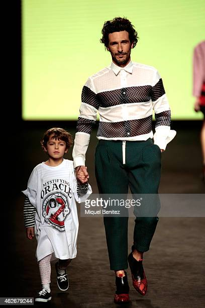 Andres Velencos walks the runway for the Brain Best collection at the '080 Barcelona Fashion Week 2015 Fall/Winter' at the Museu Maritim of Barcelona...
