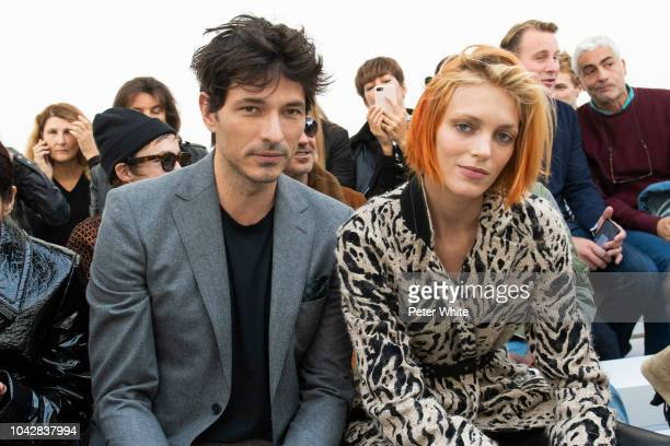Andres Velencoso and Anja Rubik attend the Haider Ackermann show as part of the Paris Fashion Week Womenswear Spring/Summer 2019 on September 29 2018...