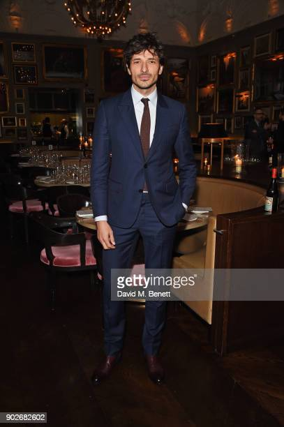 Andres Velencoso attends the GQ London Fashion Week Men's 2018 closing dinner hosted by Dylan Jones and Rita Ora at Berners Tavern on January 8 2018...