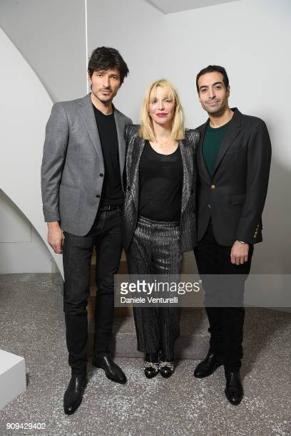 Andres Velencoso Courtney Love and Mohammed Al Turki attend Mene 24 Karat Jewelry Presentation at Gagosian Gallery on January 23 2018 in Paris France