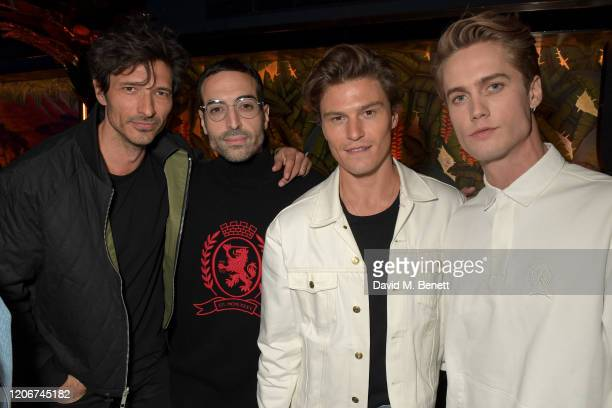 Andres Velencoso Mohammed Al Turki Oliver Cheshire and Neels Visser attend the TOMMYNOW after party at Annabels on February 16 2020 in London England