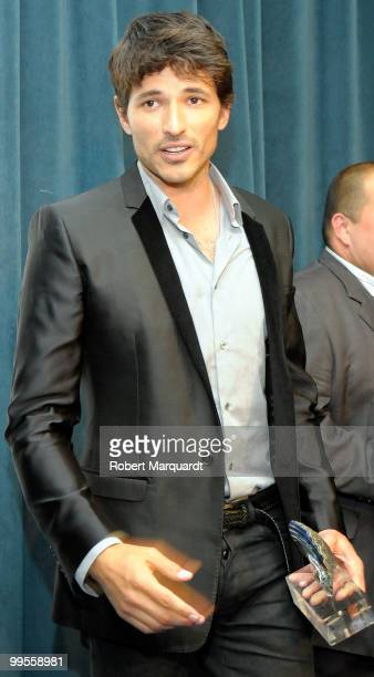 Andres Velencoso receives the 'Tossenc D'Honor' award at the Tossa de Mar City Hall on May 14 2010 in Gerona Spain