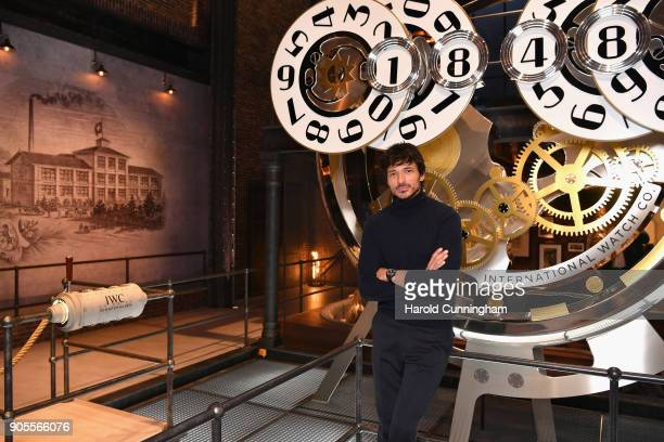 Andres Velencoso visits the IWC booth during the Maison's launch of its Jubilee Collection at the Salon International de la Haute Horlogerie on...