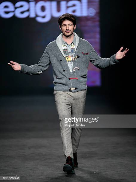 Andres Velencoso walks the runway for the Desigual collection at the 080 Barcelona Fashion Week 2015 Fall/Winter at the Museu Maritim of Barcelona on...