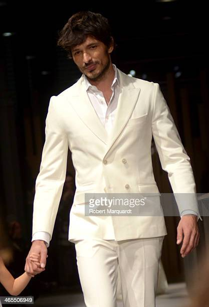 Andres Velencoso walks the runway for the Mango Fashion show held at the Born Centre Cultural on January 27 2014 in Barcelona Spain