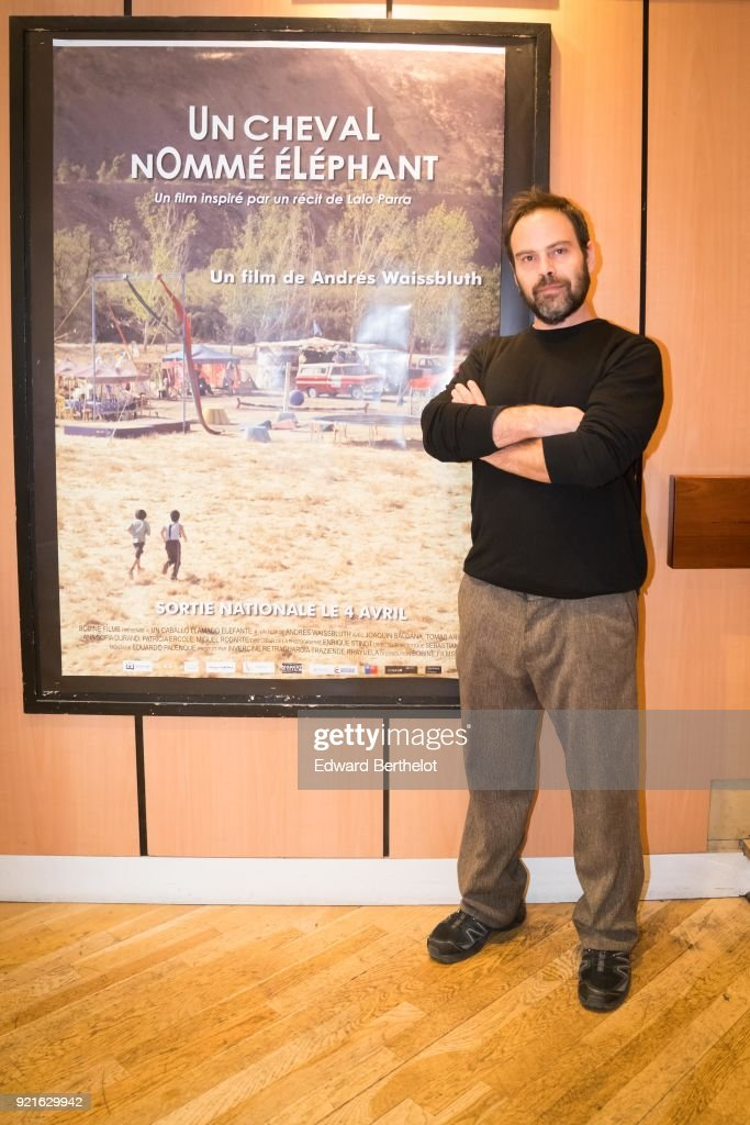 Andres Waissbluth, Chilean film director, is seen during the Un caballo llamado Elefante - Un Cheval Nomme Elephant : Photocall At Cinema Les 7 Parnassiens, on February 20, 2018 in Paris, France.