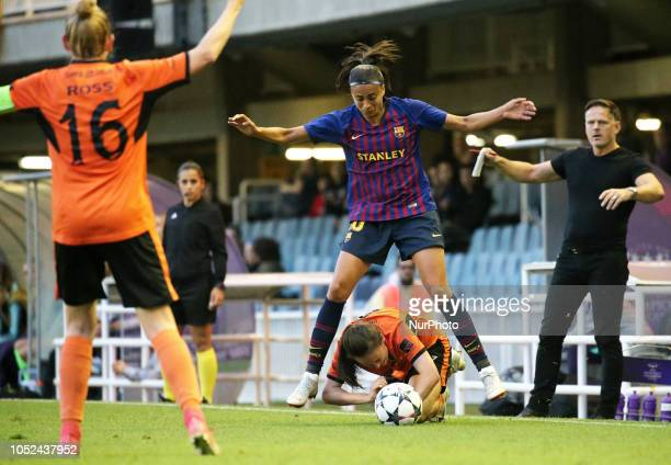 Andressa Alves Abbi Grant and Scott Booth during the match between FC Barcelona and Glasgow City FC corresponding to the first leg of the 1/8 final...