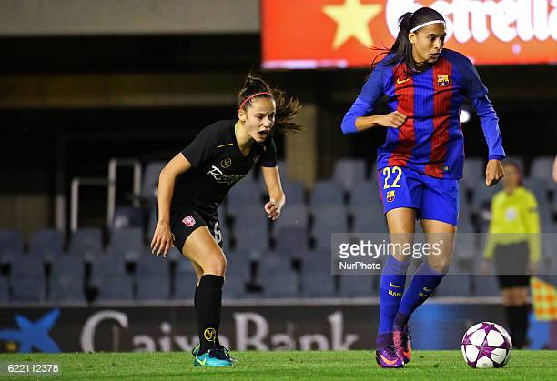 Andressa Alves and Marthe Munsterman during the Womens Champions League match between FC Barcelona and FC Twente on 09 november 2016