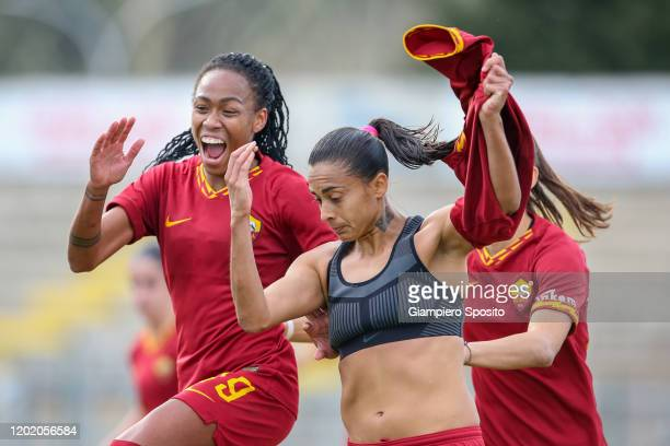 Andressa Alves Da Silva of AS Roma celebrates after scoring a goal from the penalty spot during the Women Serie A match between AS Roma and ACF...