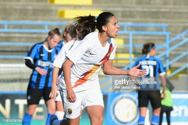 Andressa Alves Da Silva of AS Roma Women celebrates her first goal during the Women Serie A match between FC Internazionale and AS Roma at Campo...