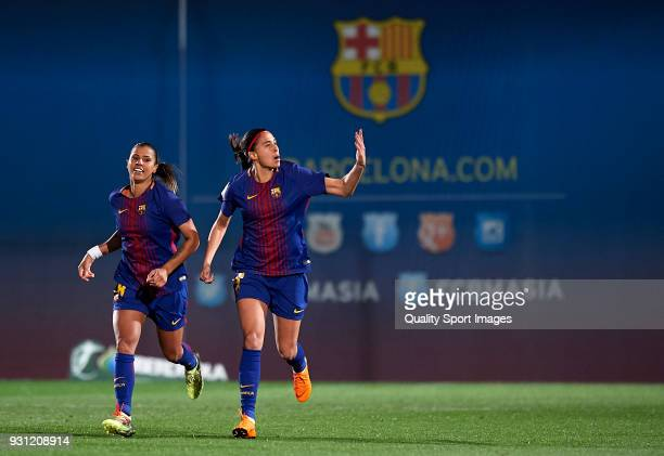 Andressa Alves of Barcelona celebrates after scoring his sides first goal during the Liga Femenina match between FC Barcelona Women and Atletico de...