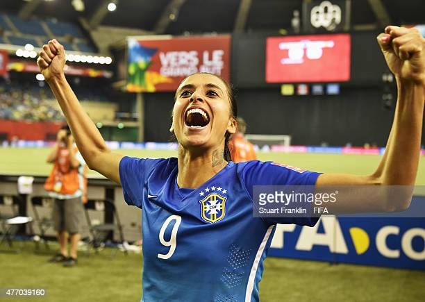 Andressa Alves of Brazil celebates after the FIFA Women's World Cup 2015 group E match between Brazil and Spain at Olympic Stadium on June 13 2015 in...