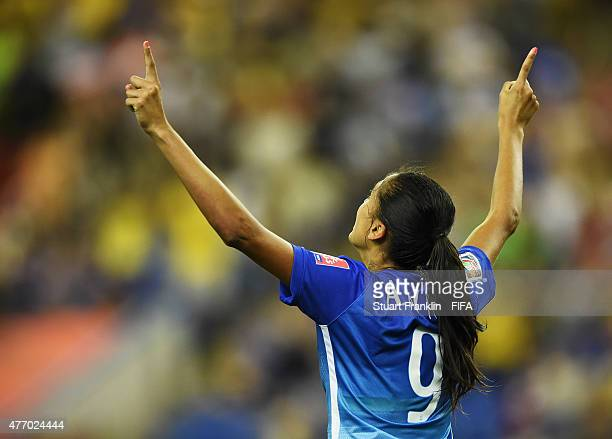 Andressa Alves of Brazil celebates scoring her gaol during the FIFA Women's World Cup 2015 group E match between Brazil and Spain at Olympic Stadium...