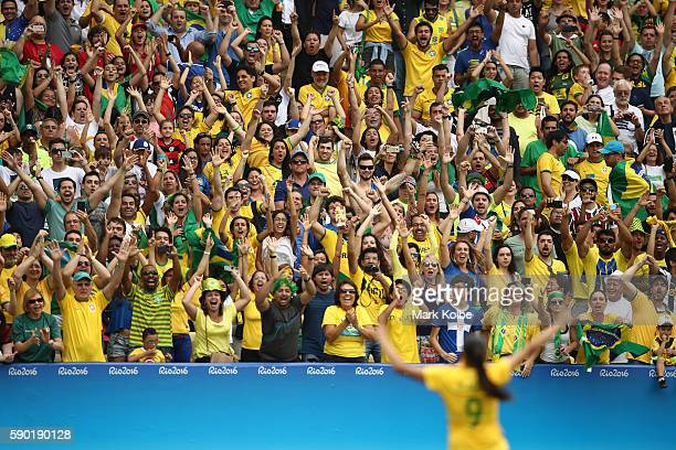Andressa Alves of Brazil celebrates a goal during the penalty shootout during the Women's Football Semi Final between Brazil and Sweden on Day 11 of...