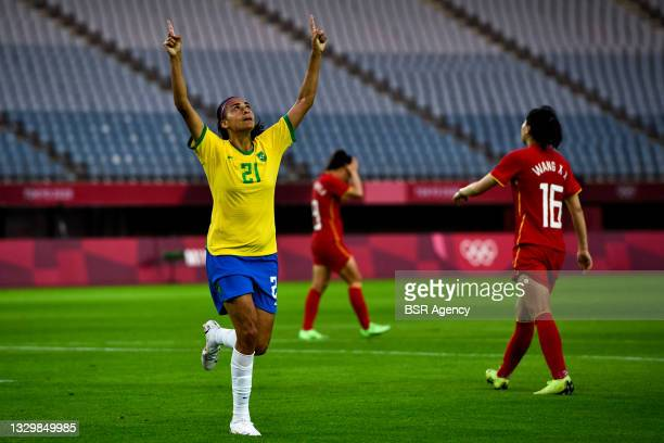 Andressa Alves of Brazil celebrates after scoring her sides fourth goal from the penalty spot during the Tokyo 2020 Olympic Football Tournament match...