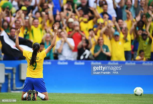 Andressa Alves of Brazil celebrates coring her penalty during the Olympic Womens Semi Final Football match between Brazil and Sweden at Maracana...