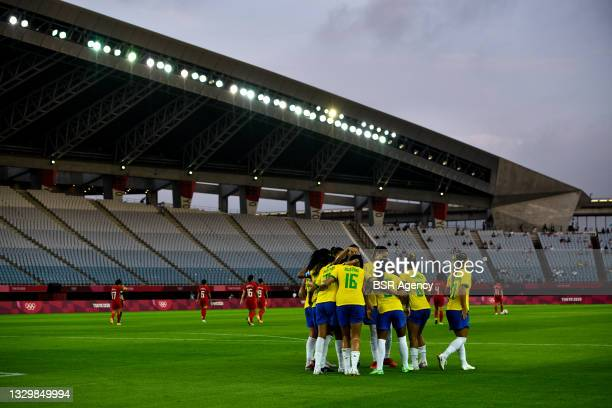 Andressa Alves of Brazil celebrates with her team mates after scoring her sides fourth goal from the penalty spot during the Tokyo 2020 Olympic...