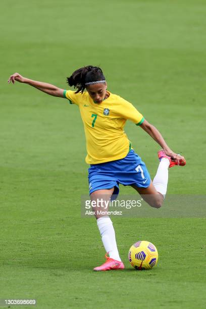 Andressa Alves of Brazil controls the ball against the United States during the SheBelieves Cup at Exploria Stadium on February 21, 2021 in Orlando,...