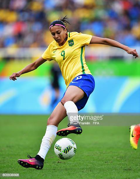 Andressa Alves of Brazil in action during the Olympic Women's Football match between Brazil and China PR during at Olympic Stadium on August 3 2016...