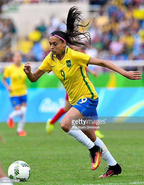 Andressa Alves of Brazil in action during the Women's Group E first round match between Brazil and China PR during the Rio 2016 Olympic Games at the...