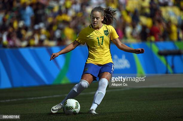 Andressa Alves of Brazil kicks during the Women's Football Semi Final between Brazil and Sweden on Day 11 of the Rio 2016 Olympic Games at Maracana...