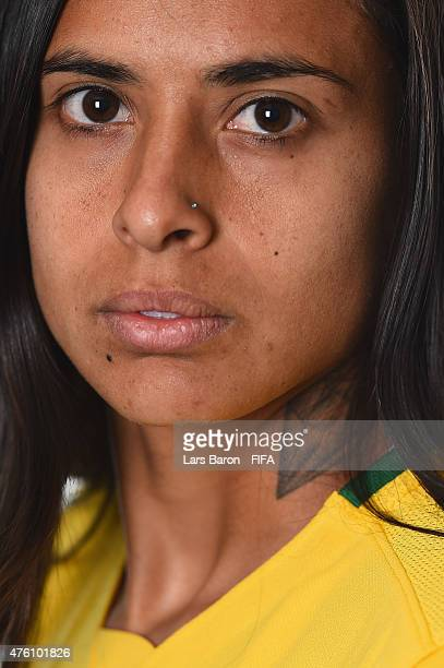 Andressa Alves of Brazil poses during the FIFA Women's World Cup 2015 portrait session at Sheraton Le Centre on June 6 2015 in Montreal Canada