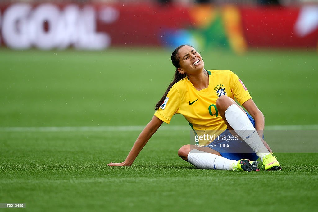 Andressa Alves of Brazil reacts during the FIFA Women's World Cup 2015 Round of 16 match between Brazil and Australia at Moncton Stadium on June 21, 2015 in Moncton, Canada.