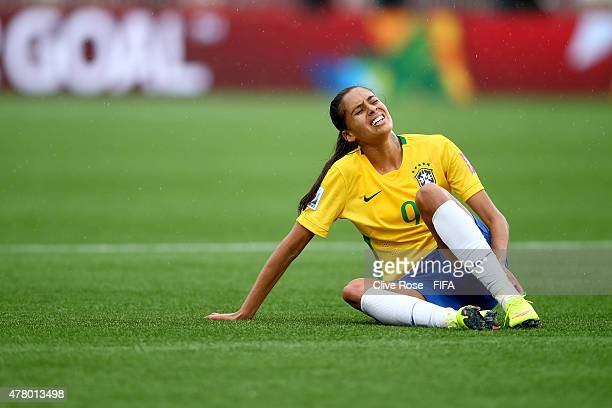 Andressa Alves of Brazil reacts during the FIFA Women's World Cup 2015 Round of 16 match between Brazil and Australia at Moncton Stadium on June 21,...