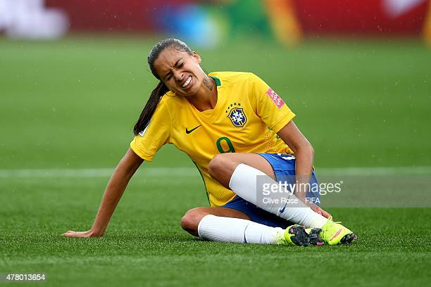 Andressa Alves of Brazil reacts during the FIFA Women's World Cup 2015 Round of 16 match between Brazil and Australia at Moncton Stadium on June 21...