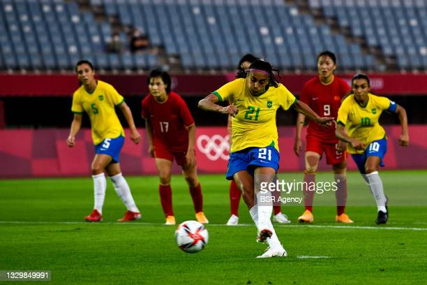 Andressa Alves of Brazil shoots to score her sides fourth goal from the penalty spot during the Tokyo 2020 Olympic Football Tournament match between...