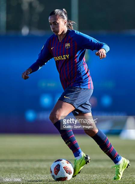 Andressa Alves of FC Barcelona drives the ball during the Iberdrola Women's First Division match between FC Barcelona and RCD Espanyol at the Ciutat...