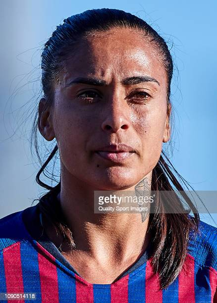 Andressa Alves of FC Barcelona looks onduring the Iberdrola Women's First Division match between FC Barcelona and RCD Espanyol at the Ciutat...
